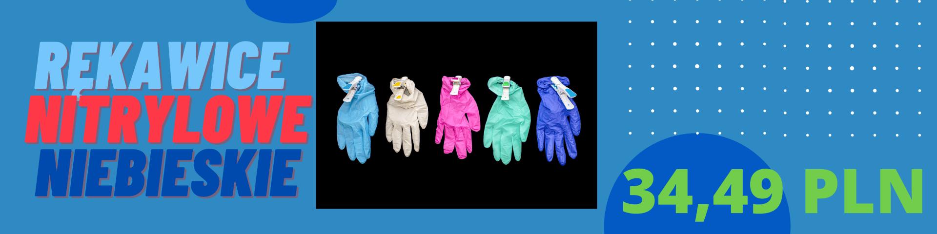 Rękawice nitrylowe niebieskie promocja